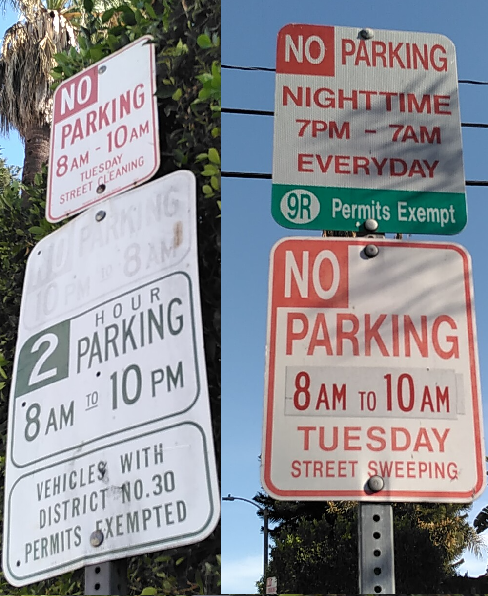 Two signs, alike in dignity, on fair Romaine Street where we park our car…